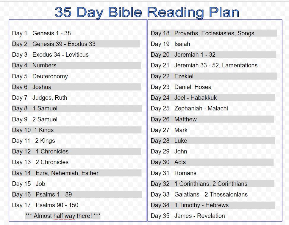 screenshot of 35 day Bible reading plan